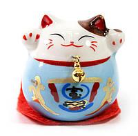 Кошка Манэки-нэко голубая (5х5х5 см)