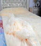 Ворсистое покривало на ліжко полуторного розміру East Comfort молочне