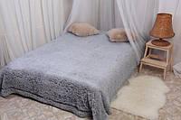 Ворсистое покрывало на кровать полуторного размера серое