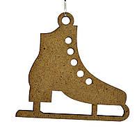 Деревянная новогодняя игрушка заготовка из ДВП. Коньки ботинки