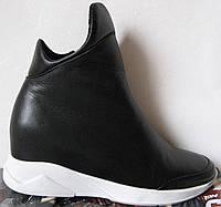 Zanotti! женские весенние стильные ботинки платформа флис танкетка кожаные черные