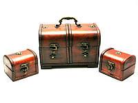 Сундучки деревянные набор 3 шт (22х14,5х13/10х8х8 см)