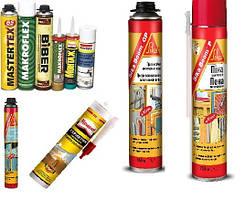 Пены монтажные, силиконы, герметики, жидкие гвозди, строительная химия