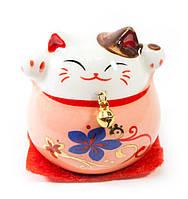 Кошка Манэки-нэко розовая (5х5х5 см)
