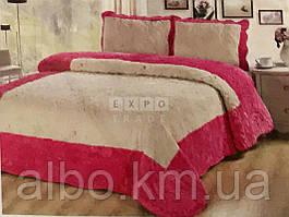 Покрывало из стёганного меха Florencia2 (розовый)