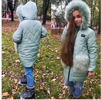 Куртка детская для девочки зимняя ментоловая,рост 134,140,146,152