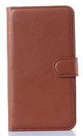Кожаный чехол-книжка  для Lenovo A850 коричневый