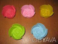 Набор силиконовых форм для выпечки и желе  Розочка 5 шт.,7х3 см , фото 1
