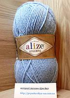 Зимняя пряжа (15%-шерсть, 30%-альпака, 55%-акрил,100 г/250 м) Alize Alpaca Royal 356(голубой)