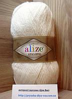 Зимняя пряжа (15%-шерсть, 30%-альпака, 55%-акрил,100 г/250 м) Alize Alpaca Royal 55(белый)