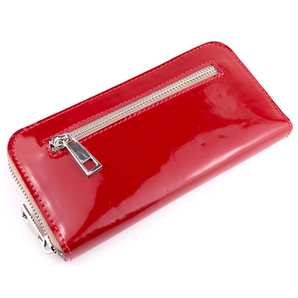 Женский лаковый кошелек на молнии LIKA-2 (красный лак)