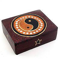 "Шкатулка ""Инь Янь"" деревянная с мозаикой (14х11х5 см)"