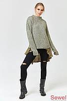 Стильный женский вязаный свитер зеленый меланж