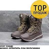 Женские зимние ботинки Timberland, коричневые / ботинки женские Тимберленд, текстиль, высокие, теалые, модные