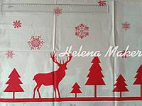 Отрез новогодней ткани Зимний лес, красный узор на белом фоне