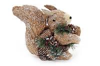 Новогодняя декоративная фигура Белка 25см из натуральных материалов