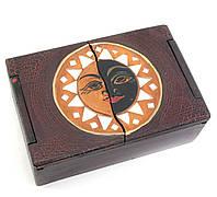 "Шкатулка ""Солнце"" деревянная с мозаикой (18х12х6 см)"