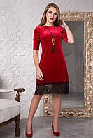 Красное велюровое платье 119