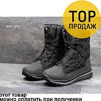 Женские зимние ботинки Timberland, черные / ботинки женские Тимберленд, текстиль, высокие, теалые, модные