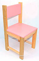 Детский стульчик, деревянный, 46 см  Розовый