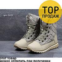 Женские зимние ботинки Timberland, бежевого цвета / ботинки женские Тимберленд, высокие, кожа, стильные