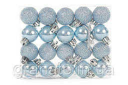 Набор елочных 3см, цвет - голубой, 20 шт: перламутр, глитер - по 10 шт