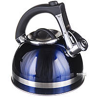 Синий чайник со свистком 3 л, темно-синий (1382)