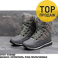 Женские зимние ботинки Timberland, серые с оливковым / ботинки женские Тимберленд, текстиль, на меху, удобные