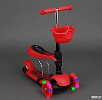 Самокат пластмассовый, (4109) с пластмассовым сиденьем, Красный