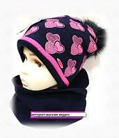 Шапка+шарф для девочки зима