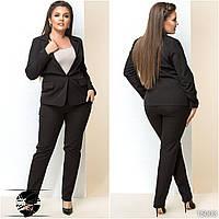Женский брючный костюм черного цвета: брюки и пиджак. Модель 15003