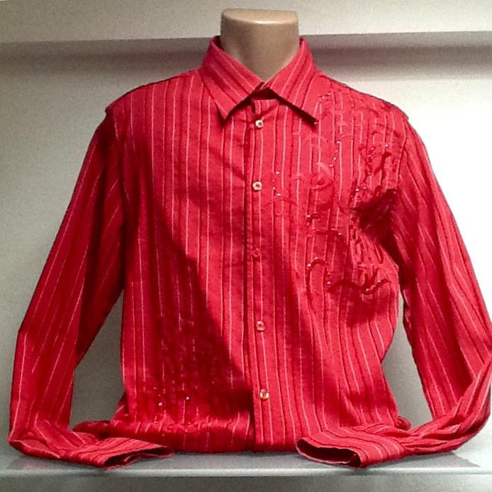 Рубашка мужская красная в полоску