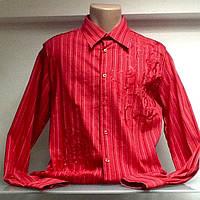 Рубашка мужская красная в полоску, фото 1