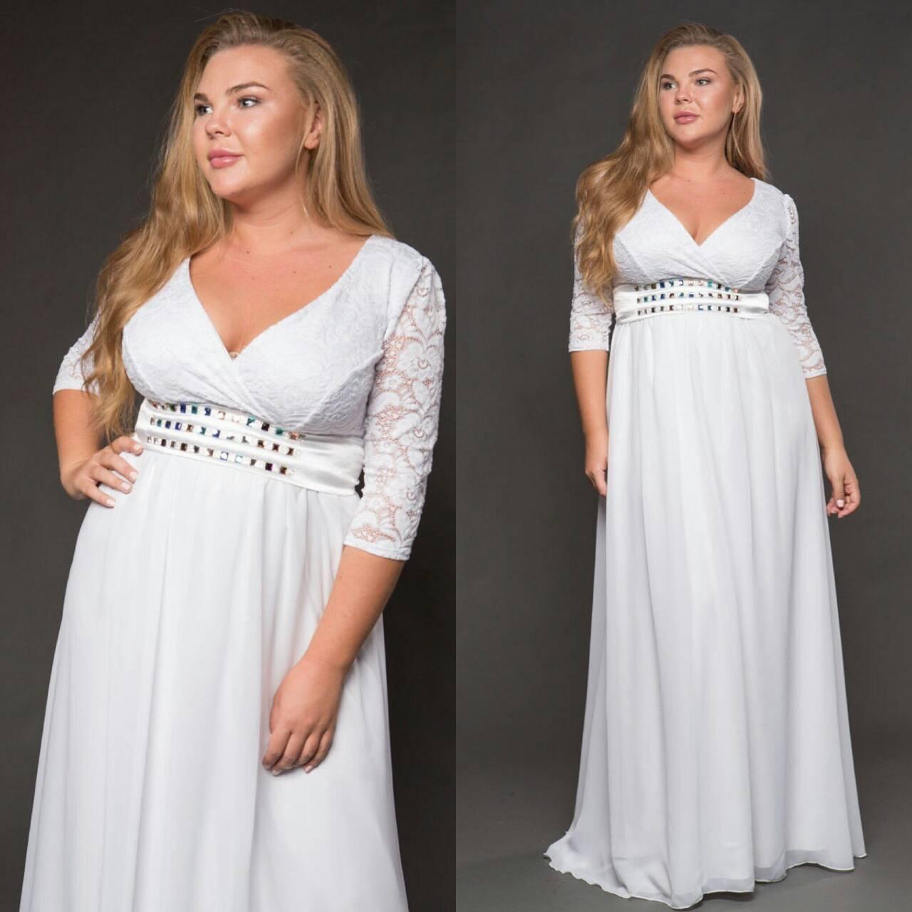 3417a0a07eb Длинное белое платье (батал) 48-52 р.  1 378 грн. - Свадебные платья ...