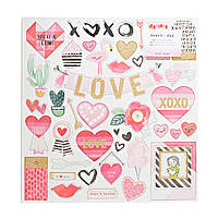 Чіпборд - Heart Day - Crate Paper - Gold Glitter (44 Piece)