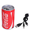 Колонка портативная MP3  CocaCola, банка Кока кола, TF, MicroSD, радио, FM, SDHC, SD, CD