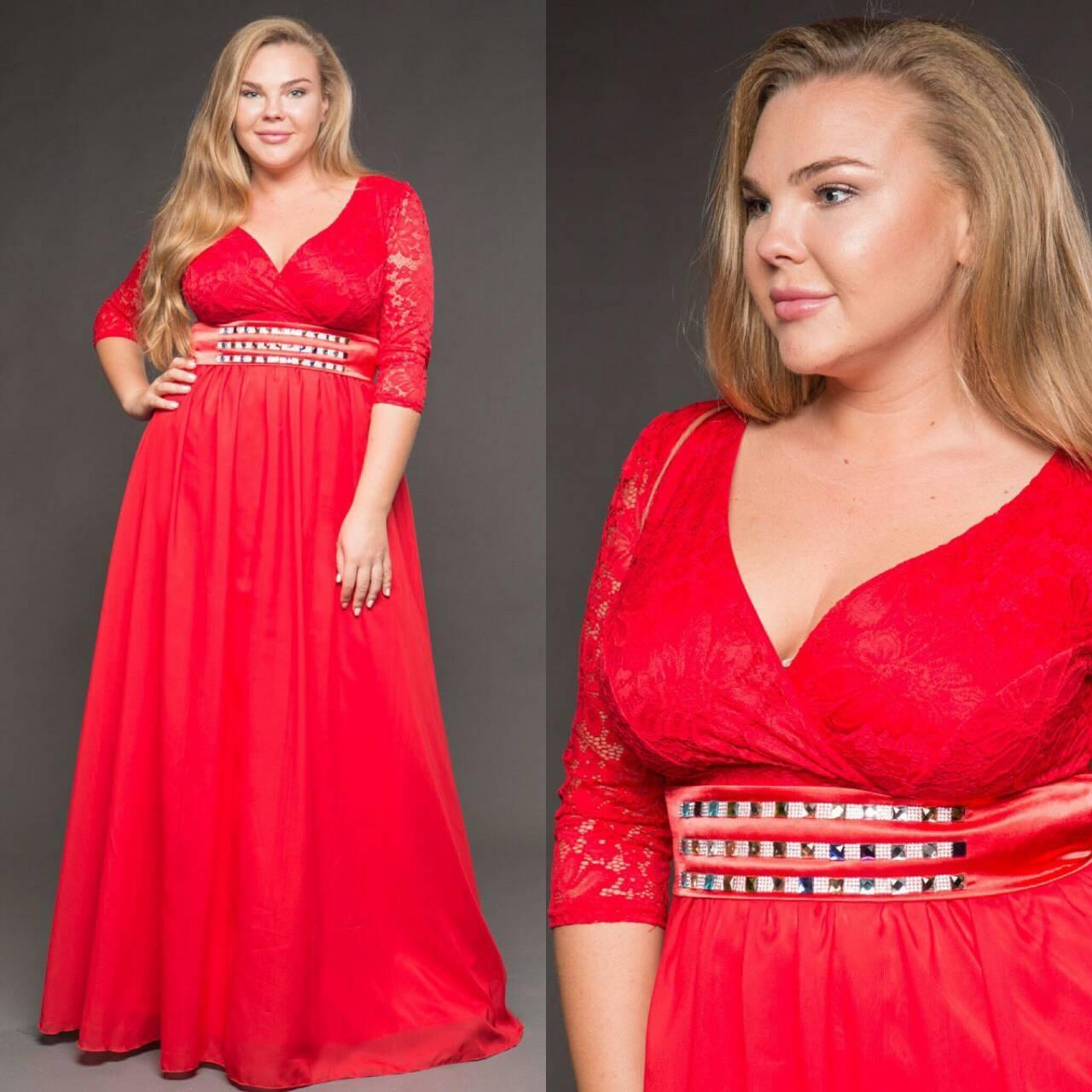 Красное платье батал. 48-52 р.