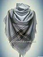 Большой кашемировый платок клетка, серый 150см