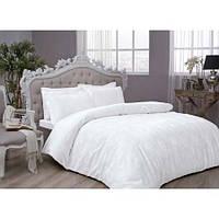 TAC Diana white жаккардовый комплект постельного белья