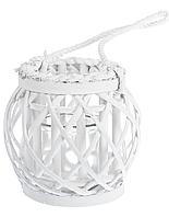 Фонарь декоративный плетеный белый