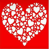Трафарет Сердце, 18х18 см, многоразовый
