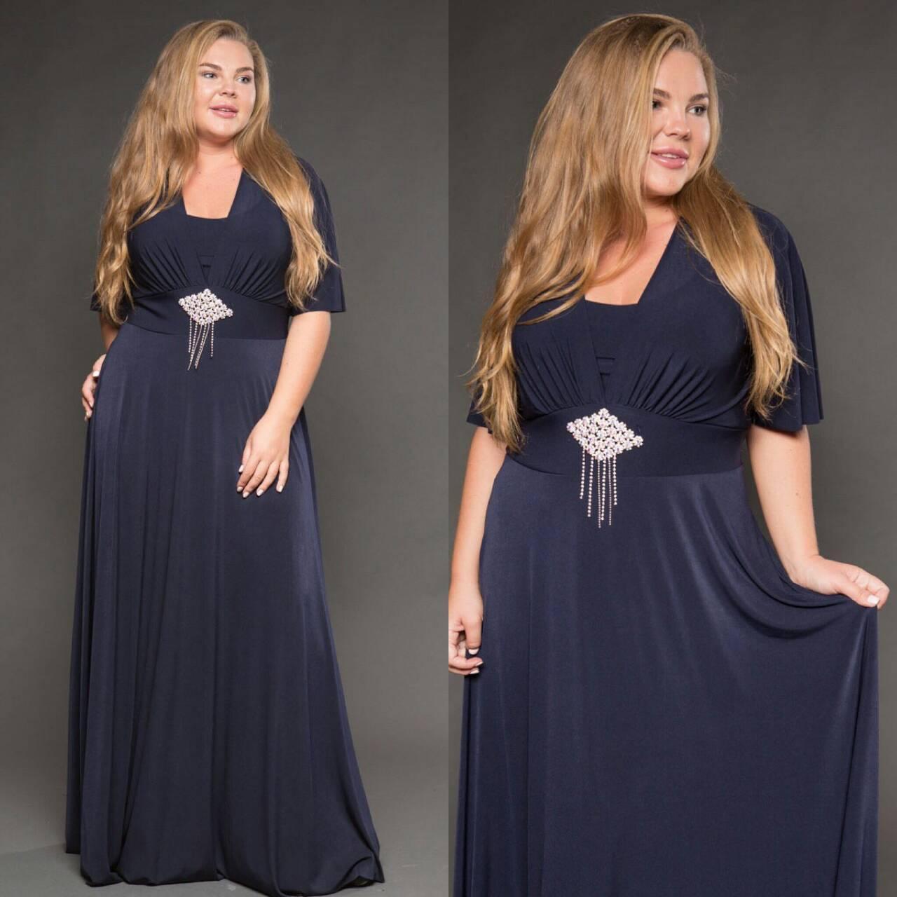 Длинное вечернее платье с коротким рукавом. 50, 52, 54, 56 размера.