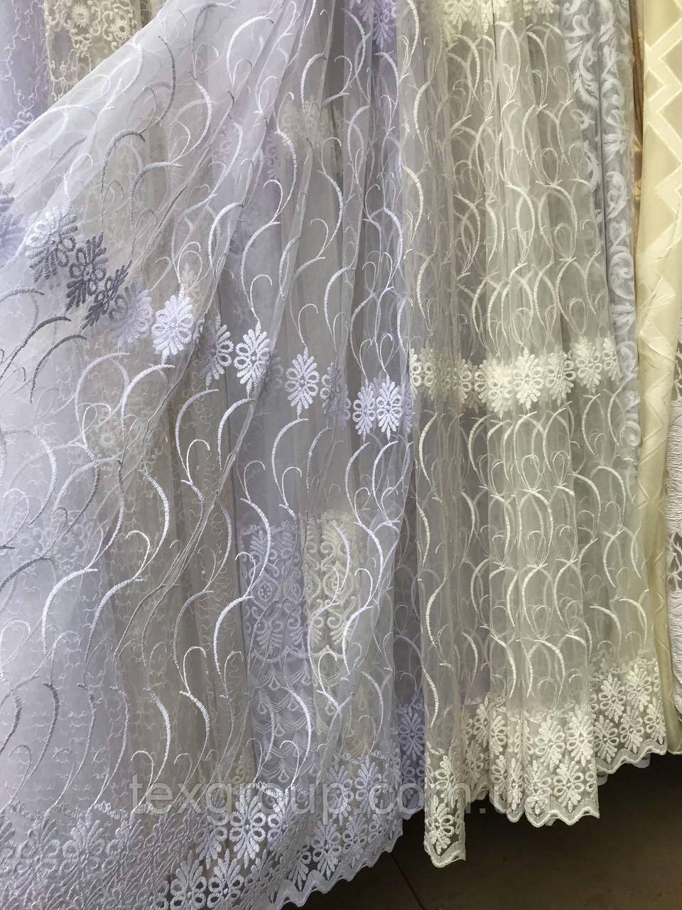 Тюль фатин с нежной вышивкой №306 оптом