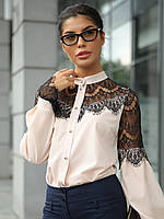 Жіноча стильна персикова блузка з гіпюром Glory (XS, S, M, L, XL)