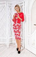 Приталенное платье в цветочный принт с болеро