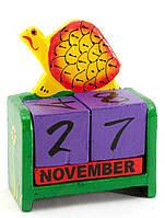 """Календарь настольный """"Черепаха"""" дерево зеленый (15х10х5 см)"""