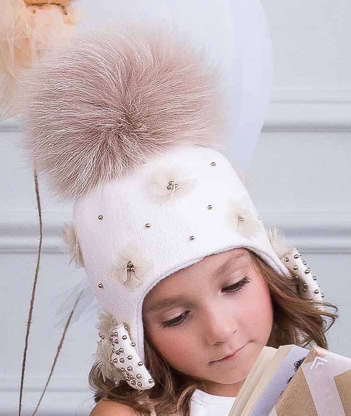 Шерстяная шапочка-ушанка для девочки Даяна