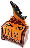 """Календарь настольный """"Рыба"""" дерево коричневая(15х10х5 см)"""