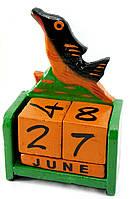 """Календарь настольный """"Рыба"""" дерево зеленая(15х10х5 см)"""