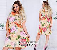 Легкое штапельное платье в цветочный принт